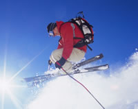 skier enjoying awesome snow