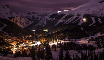 sunshine mountain lodge at night